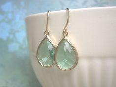Mint Green Earrings Teardrop Earrings Gold by LisaDJewelry on Etsy