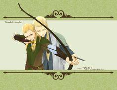 Thranduil teaching Legolas to shoot a bow.