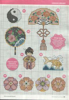 Oriental motifs part 4 free cross stitch patterns Cross Stitch Boards, Mini Cross Stitch, Cross Stitch Designs, Cross Stitch Patterns, Cross Stitching, Cross Stitch Embroidery, Blackwork Patterns, Stitch Book, Sewing Art