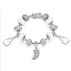BAMOER Strand Bracelet New Arrival White Charms Beads Bracelet for Women Girl with Handbag Pendant Bracelet Jewelry Just look, that`s outstanding! Fashion Accessories, Fashion Jewelry, Women Jewelry, Cute Jewelry, Jewelry Bracelets, Pandora Bracelets, Bangles, All About Fashion, Passion For Fashion