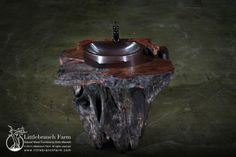 Rustic live edge redwood burl slab top vanity with chunky root base | Littlebranch Farm