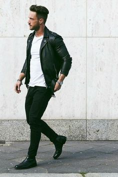 ideas how to wear leather jacket men casual for 2019 Men Looks, Style Casual, Men Casual, Rockabilly Moda, Urbane Mode, Black Leather Jacket Outfit, Look Man, Leather Men, Leather Jackets