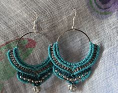 macrame earrings Macrame Earrings, Hoop Earrings, Micro Macramé, Petra, Wire Wrapping, Beading, Wraps, Accessories, Jewelry