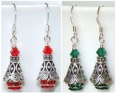 Making Holiday jewelry? Check our Holiday Idea Page for the details and materials list for these really pretty Christmas Tree Earrings featuring the gorgeous spiral cones and the new color rondelles - Look for Project #2-51