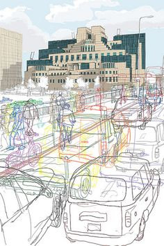Drawing In Secret London Chosen for Serco Prize. London Transport museum - Selected to be exhibited in The London Transport Museum (Serco AOI) Udk Berlin, A Level Art Sketchbook, London Transport Museum, Public Transport, Art Alevel, Outline Art, Photocollage, Building Art, Urban Sketching