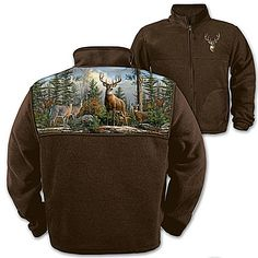 Deer Art Men's Fleece Jacket: Forest King
