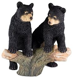 "Custom & Unique {6.5"" x 6.75"" Inch} 1 Single, Home & Garden ""Standing"" Figurine Decoration Made of Grade A Resin w/ Two Black Bear Cubs Playing On Log Style {Black, Brown, & Tan}"