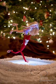 The Elf on the Shelf~ Elf and Barbie as ice dancing skaters.