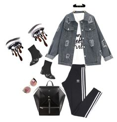 """🕶👀"" by natalienicole0410 ❤ liked on Polyvore featuring adidas, BaubleBar, Anissa Kermiche and Quay"