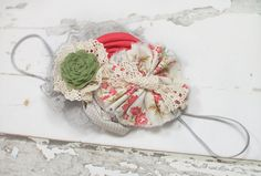 Strike a Rose - headband in dark pink, red, cream, grey and olive/sage green by SoTweetDesigns