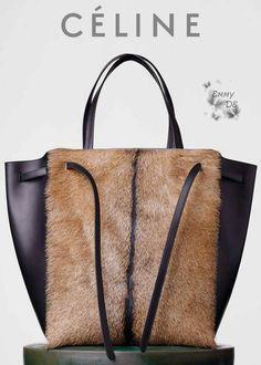 Céline ~ Medium Cabas Phantom With Belt In Brown Goat Fur Fall 2015
