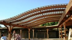 S-line pergola is a widely-used solution for modern EcoArchitecture which contains timber laminated arches. This s-curved gluelam construction can be exploit as a veranda or a structure for outside entertainment.