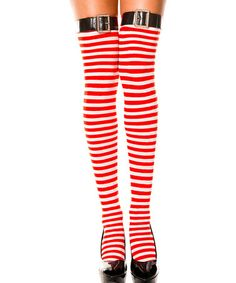 This Red & White Stripe Thigh-High Tights is perfect! #zulilyfinds