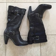 Nine West boots Nine West man made fabric boots.Heel approximately 3.5 inches & shaft is approximately 13 inches.Two buckles on the side & zipper on other side.size 6.5,in very good condition.❌NO TRADES❌ Nine West Shoes Heeled Boots