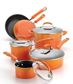 Rachael Ray Hard Enamel Nonstick 10-Piece Cookware Set, Orange Gradient Rachael Ray Porcelain Enamel II Nonstick 10-Piece Cookware Set, Orange Gradient This Rachael Ray Porcelain Enamel II cookware set is perfect when it�s time to whip up tasty meals for family and friends. This set has all of the necessary cookware shapes and sizes needed to make great-tasting dishes from lamb burgers with garlic-yogurt sauce to blueberry French toast to a three-bean minestrone soup. Rachael..