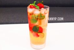 "Today I would like to share my own secret recipe! ""Home-made Strawberry Virgin Mojito (Non-Alcoholic)"" Proudly created by myself!....."