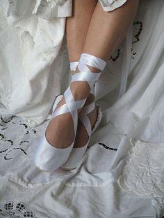White Satin Bridal Ballet Slippers White by HopefullyRomantic