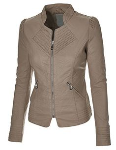 MBJ Womens Faux Leather Zip Up Moto Biker Jacket With Stitching Detail