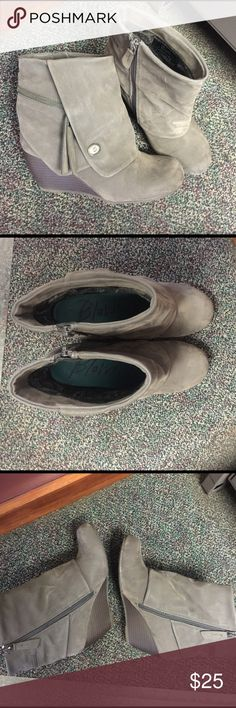 Gray Blowish Ankle boots Used once for a few hours. Suede leather blend type of material True to Size 6.5B width. Side zipper. Blowfish Shoes Ankle Boots & Booties