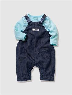 Tweedelig setje voor pasgeboren jongetjes BLAUW DONKER GEWASSE - vertbaudet enfant --- 20.96€