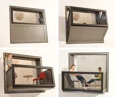 Genius Genius Genius. A window frame which opens to a balcony. Need it in my future house!!!