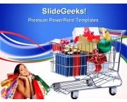 Shopping Cart With Presents Sales PowerPoint Templates And PowerPoint Backgrounds 0711