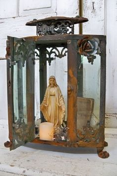 Ornate display case glass metal rusted observation box or shrine eleborate home decor Anita Spero Madonna, Religious Icons, Religious Art, Catholic Altar, Prayer Corner, Home Altar, Blessed Virgin Mary, Assemblage Art, Blessed Mother