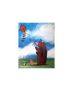 Woodland Nursery Art. Whimsical Animals Kite Flying by andralynn