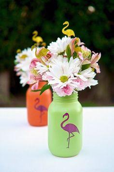 Flamingo Mason Jars - flamingo party favors - hawaiian party decor -  luau party centerpieces