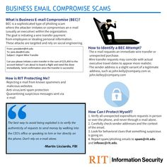To all RIT employees and staff, you need to know about Business Email Compromise Scams. Business Emails, Security Tips, Engineering, Goddess Lakshmi, Goals, Cyber, Crime, Organization, Technology