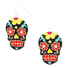 Halloween Enamel Day of the Dead Mexican Sugar Skull Earrings / AZERFH625-MUL-HAL, http://www.amazon.com/dp/B01KP5B8SM/ref=cm_sw_r_pi_awdm_x_WPBUxbCDPCBAQ
