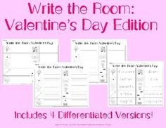 "This product includes 4 differentiated worksheets that go along with Valentine's Day themed ""write the room"" cards. This product allows students to practice their vocabulary, handwriting, and spelling skills. It is also a great way for students to have fun while learning!"