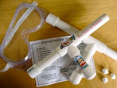 """marshmallow guns craft for spy party? Have """"spies"""" assemble the gun and fire it at a target"""