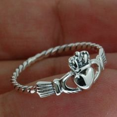 Twisted band Celtic Claddagh Ring size 10 US Irish by FineArt925    (I like how simple this one is!)