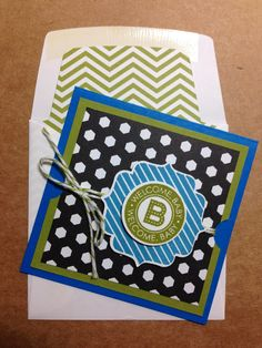 Stampin' Up! Tag Talk 3 X 3 card with lined envelope. Baby Shower Cards, Baby Cards, Birthday Greetings, Birthday Cards, Stamping Up, Rubber Stamping, Card Tutorials, Card Tags, Stampin Up Cards