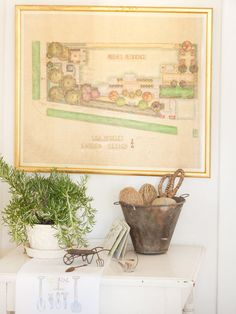 If you have any hand-me-downs of old architectural or landscape plans, they might be the most interesting item to frame yet! Imagine hanging this garden design near the window overlooking your yard, or hanging a vintage blueprint of your home in the dining room. Lovely!