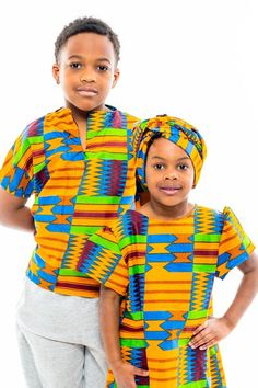 Blue Kente Sibling Set
