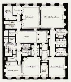 Marshal Field Residence second floorplan - 4-6-8 East 70th Street, New York City