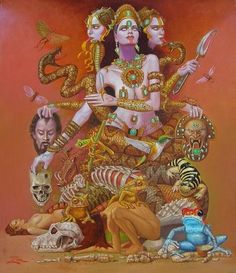 Maha Kali Maa #Goddess, #Hindu, #Mythology , literally translated as Great Kali, is the Hindu Goddess of time and death, considered to be the consort of Shiva the God of consciousness, and as the basis of Reality (see below) and existence.