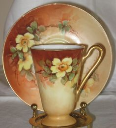 Handpainted Antique Demitasse Tea Cup Saucer Yellow Blossoms Limoges Style