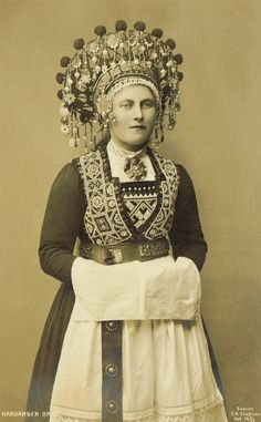 Early 1900s Norwegian Real Photo Postcards Traditional Folkloric Bunad Brides with Headdress from Hardanger & Voss