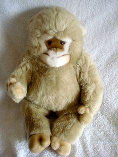 Vintage CONFETTI YETI Soft Grey Plush Bigfoot Applause 1987 monkey white tan EUC