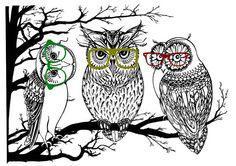 Owls in Hipster Glasses Barn Owl Great Horned Owl by HahoninArt, £9.20