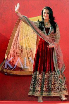 Bollywood Replica Aishwarya Rai Dark Red/Maroon Velvet Sabyasachi Anarkali