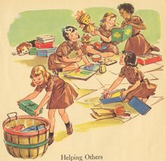 """Brownies helping others - from the Little Golden Book """"Brownie Scouts"""" - published in 1961"""
