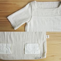 Square neck Short Sleeve blouses with Little Pockets Natural Color Cotton-Seam Detail-www.tanbagshop.com
