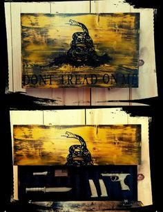 Don't Tread On Me - Custom Wooden Flag (Hidden Compartment)
