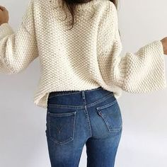 ¿Te atreves a tejer un jersey en punto arroz? | SANTA PAZIENZIA Diva Fashion, Pullover, Knitting, Crochet, Sweaters, Outfits, Dressing Room, Style, Winter