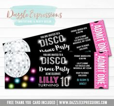 Printable Disco Dance Birthday Ticket Invitation - Girls Party - Disco Ball - Neon Roller Skating - Fitness and Exercises, Outdoor Sport and Winter Sport Disco Theme Parties, Disco Party Decorations, 70s Party, Kids Disco Party, Soccer Party, Dance Party Birthday, Neon Birthday, Birthday Party Invitations, Dance Party Kids