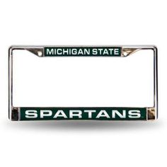 michigan state spartans ncaa chrome laser cut license plate frame multicolor - Michigan State Diploma Frame